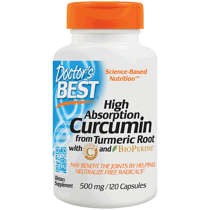 Curcumin 500 mg High Absorption, with C3 Complex and BioPerine, 120 Capsules, Doctors Best