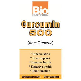 Curcumin 500 (from Turmeric), 50 Vegetarian Capsules, Bio Nutrition Inc.