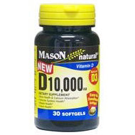 Vitamin D 10000 IU, 30 Softgels, Mason Natural