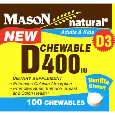 Chewable Vitamin D 400 IU for Adults & Kids, 100 Chewables, Mason Natural