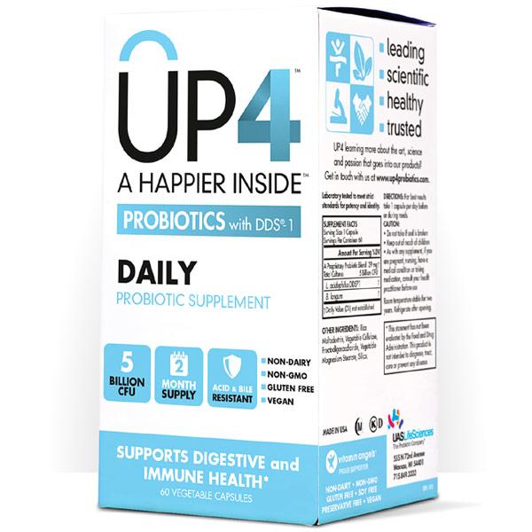 UP4 Daily Probiotics with DDS, 5 Billion CFU, 60 Vegetarian Capsules, UP4 Probiotics