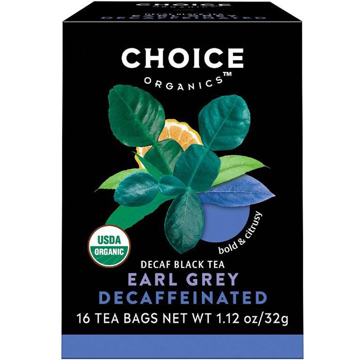 Decaffeinated Earl Grey, Decaf Black Tea, 16 Tea Bags, Choice Organic Teas