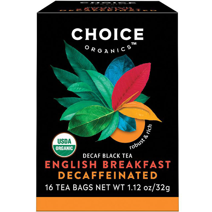 Decaffeinated English Breakfast, Decaf Black Tea, 16 Tea Bags, Choice Organic Teas