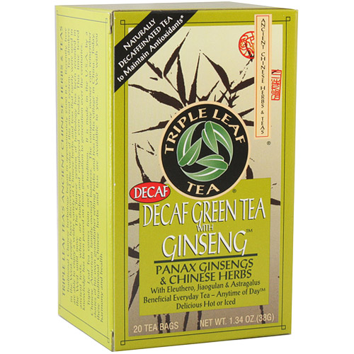 Decaf Green Tea with Ginseng, 20 Tea Bags x 6 Box, Triple Leaf Tea