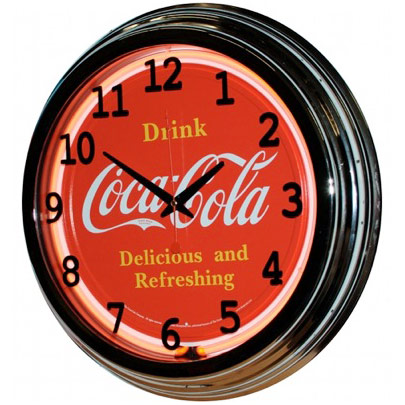 Image of Delicious and Refreshing Coke 17 Inch Red Neon Wall Clock