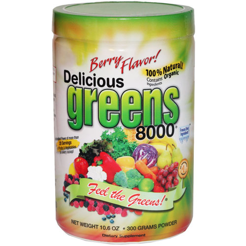 Delicious Greens 8000 Superfood Drink, Berry Flavor, 10.6 oz, Greens World Inc.