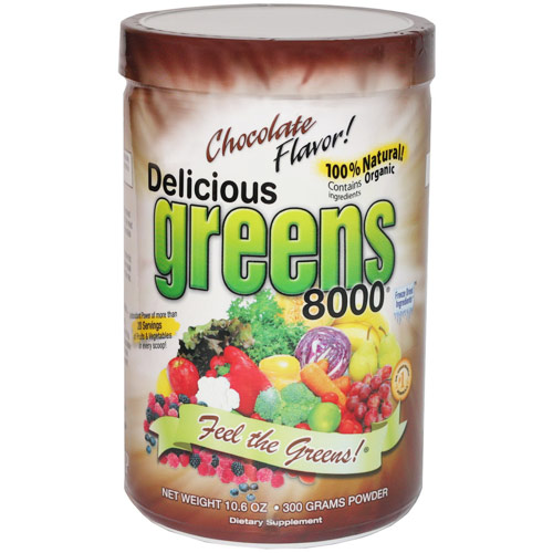 Delicious Greens 8000 Superfood Drink, Chocolate Flavor, 10.6 oz, Greens World Inc.