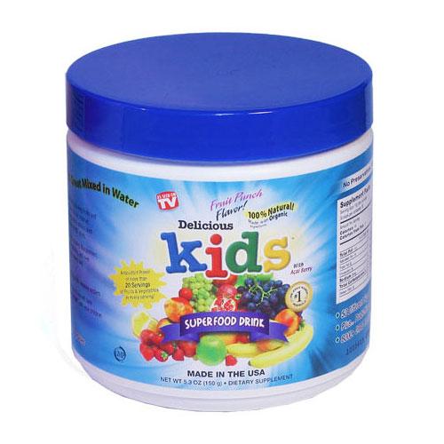 Delicious Kids Super Food Drink, Fruit Punch Flavor, 5.3 oz, Greens World Inc.