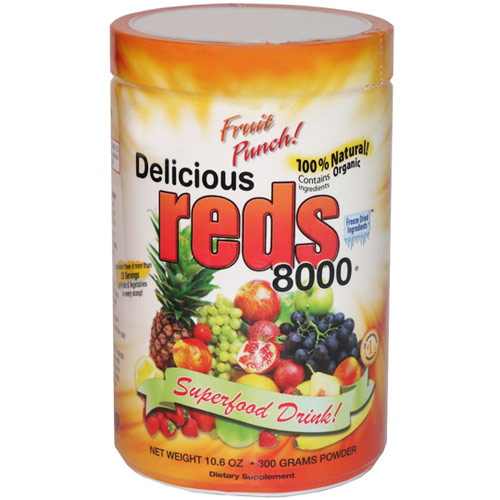 Delicious Reds 8000 Superfood Drink, Fruit Punch Flavor, 10.6 oz, Greens World Inc.