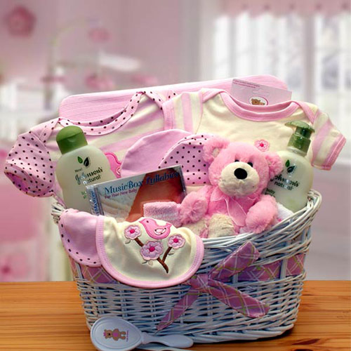 Image of Deluxe Organic New Baby Gift Basket, Pink, Elegant Gift Baskets Online