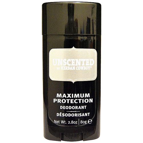 Herban Cowboy Unscented Deodorant, Maximum Protection, 2.8 oz