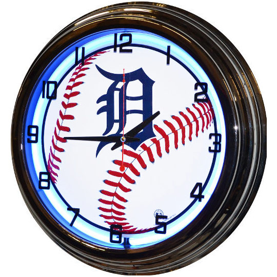 Image of Detroit Tigers 17 Inch Blue Neon Wall Clock