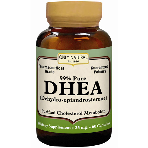 DHEA 99% Pure, 25 mg, 60 Capsules, Only Natural Inc.