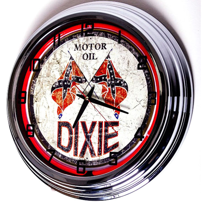 Image of Dixie Motor Oil 17 Inch Red Neon Clock