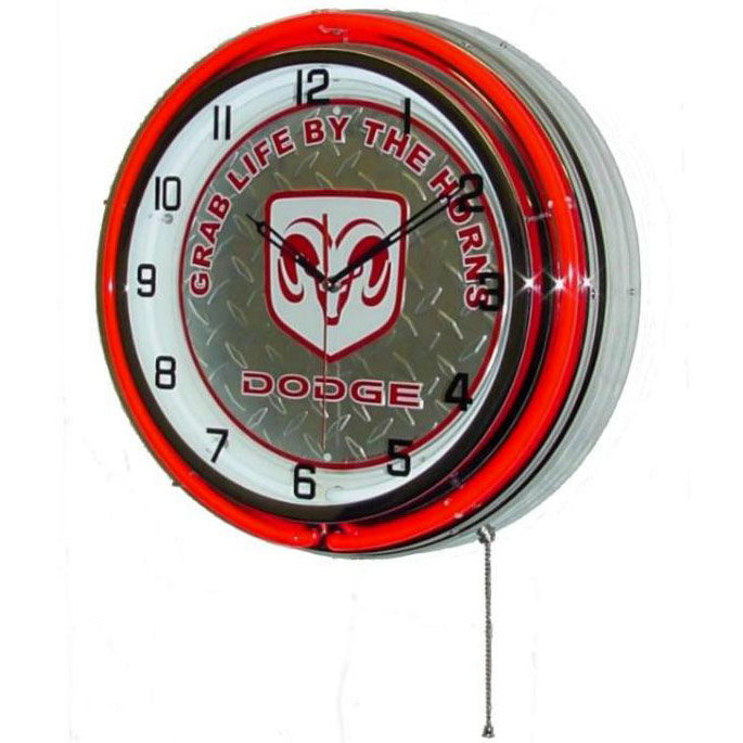Image of Dodge 'Grab Life By The Horns' 18 Inch Double Red Neon Wall Clock