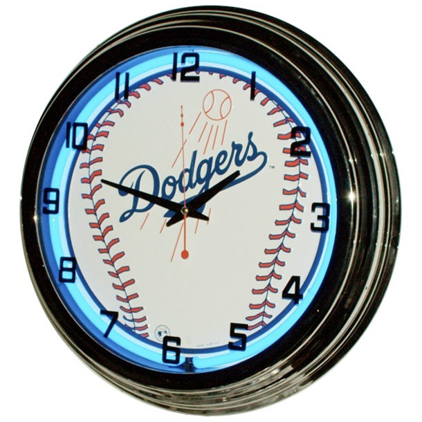Image of Dodgers 17 Inch Blue Neon Wall Clock