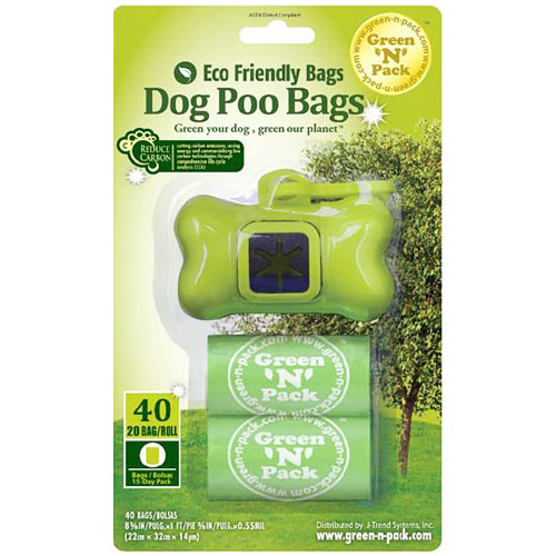 Dog Poo Bags Blister Pack (40 Count Dog Bone Dispenser Refill Waste Bags + Bone Dispenser), GreenNPack Eco Friendly Bags