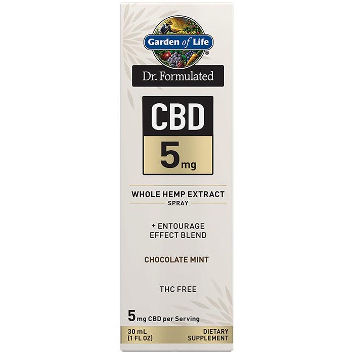 Dr. Formulated CBD 5 mg Whole Hemp Extract Spray, Chocolate Mint, 30 ml, Garden of Life