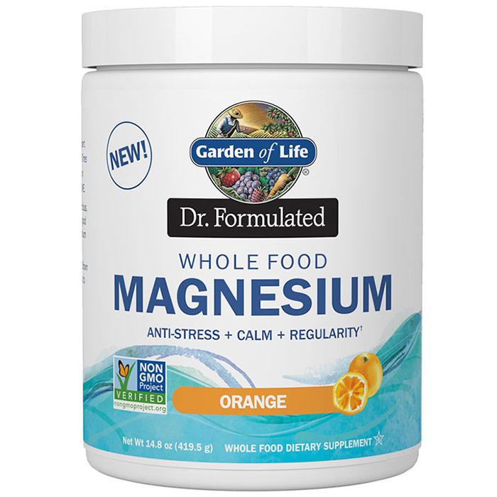 Image of Dr. Formulated Whole Food Magnesium Powder, Orange, Value Size, 14.8 oz (419.5 g), Garden of Life