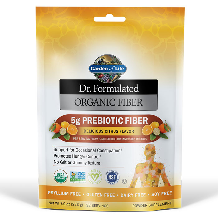 Dr. Formulated Organic Fiber Powder - Citrus, 223 g (32 Servings), Garden of Life