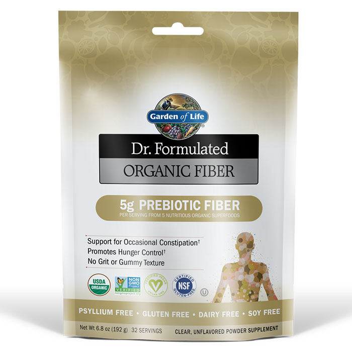 Dr. Formulated Organic Fiber Powder - Unflavored, 192 g (32 Servings), Garden of Life