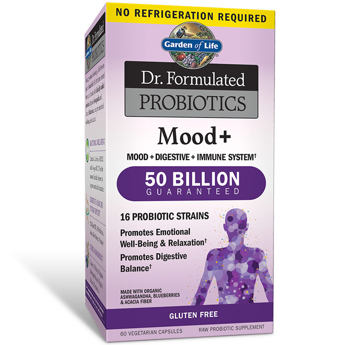 Dr. Formulated Probiotics Mood+ Shelf Stable, 60 Vegetarian Capsules, Garden of Life
