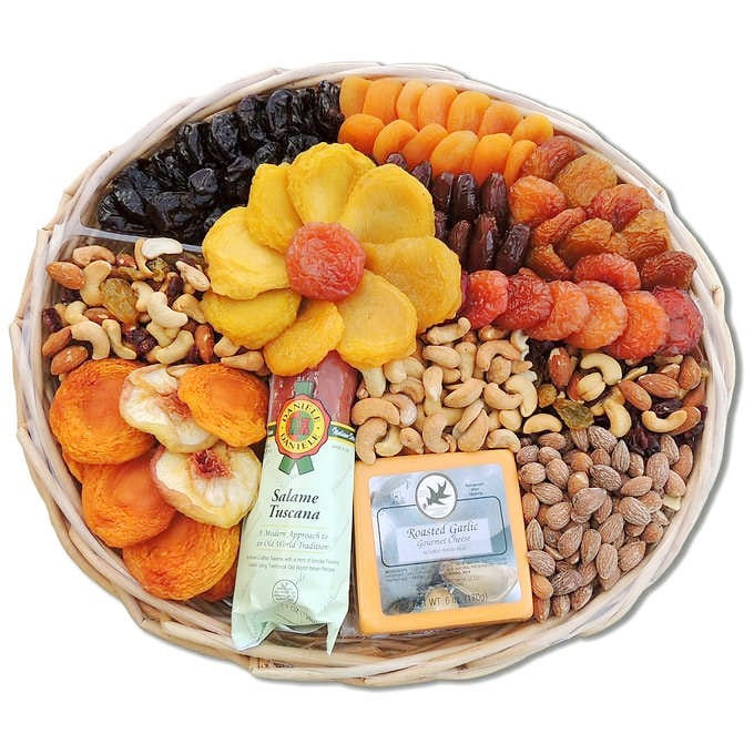 Dried Fruit & Nut Holiday Gift Basket, 60 oz, Vacaville Fruit Company
