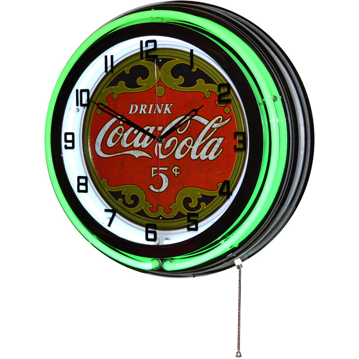 Image of Drink Coca-Cola 5 Cents 18 Inch Double Green Neon Wall Clock