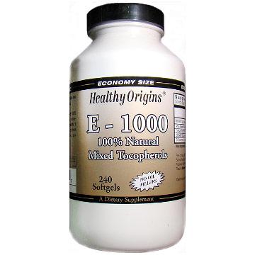 E-1000, Vitamin E 1000 IU, 240 Softgels, Healthy Origins