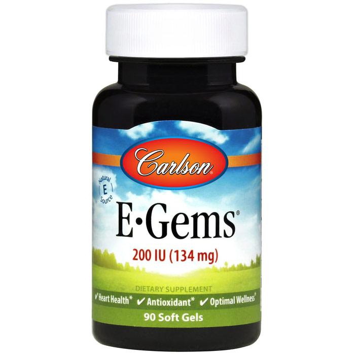 E-Gems 200 IU, Natural Vitamin E, 90 softgels, Carlson (Vitamins Supplements - Vitamin E)
