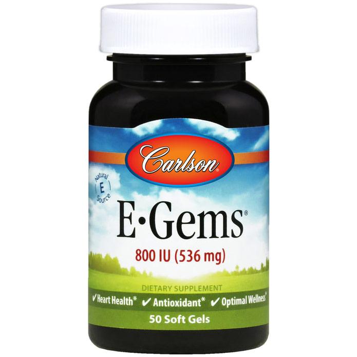 E-Gems 800 IU, Natural Vitamin E, 250 softgels, Carlson Labs