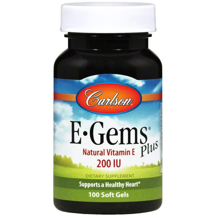 E-Gems Plus 200 IU, Natural Vitamin E, 100 softgels, Carlson Labs