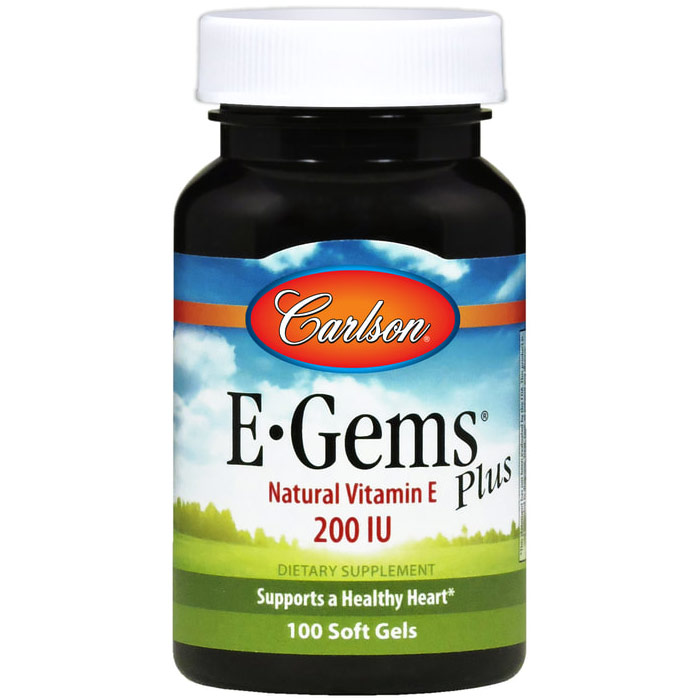 E-Gems Plus 200 IU, Natural Vitamin E, 250 softgels, Carlson Labs