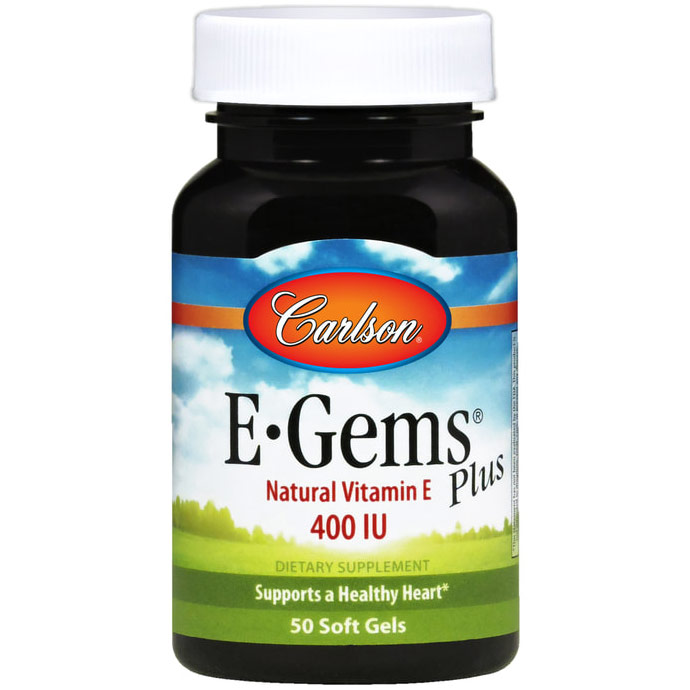 E-Gems Plus 400 IU, Natural Vitamin E, 50 softgels, Carlson Labs