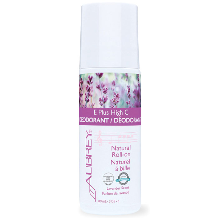 E Plus High C Natural Vitamin E Roll-On Deodorant - Lavender Scent, 3 oz, Aubrey Organics