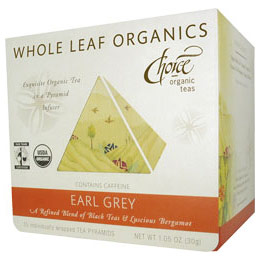 Whole Leaf Organics, Earl Grey, 15 Tea Pyramids, Choice Organic Teas