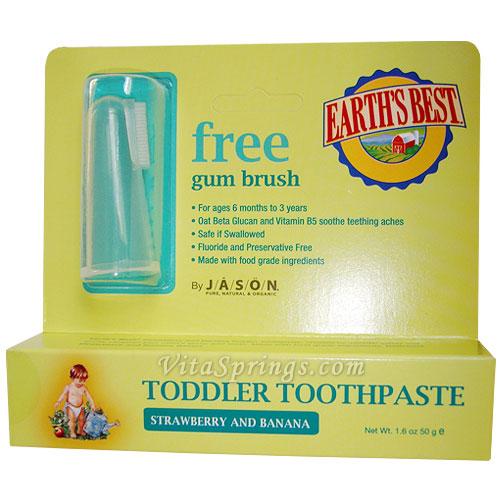 Earths Best Toddler Toothpaste Strawberry & Banana 1.6 oz, Jason Natural