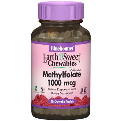 EarthSweet Chewables CellularActive Methylfolate 1000 mcg, Natural Raspberry Flavor, 90 Chewable Tablets, Bluebonnet Nutrition