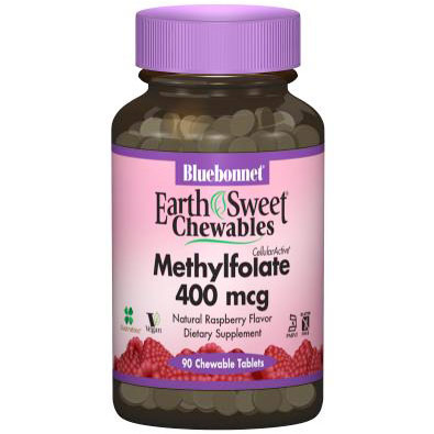 EarthSweet Chewables CellularActive Methylfolate 400 mcg, Natural Raspberry Flavor, 90 Chewable Tablets, Bluebonnet Nutrition