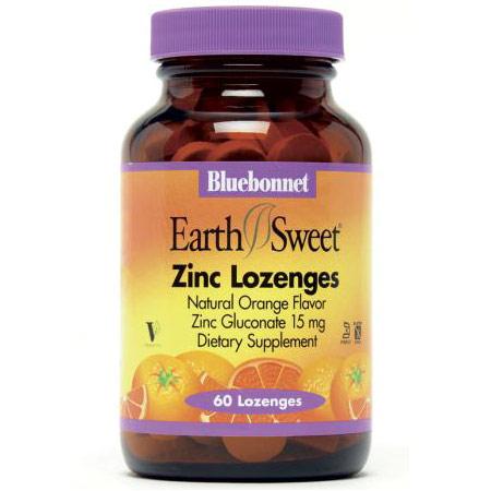 EarthSweet Zinc Lozenges 15 mg, Natural Orange Flavor, 60 Lozenges, Bluebonnet Nutrition