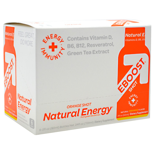 EBOOST Natural Energy Orange Shot, Energy Drink, 2 oz x 6 Bottles