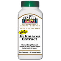 Image of Echinacea Extract 200 Vegetarian Capsules, 21st Century Health Care