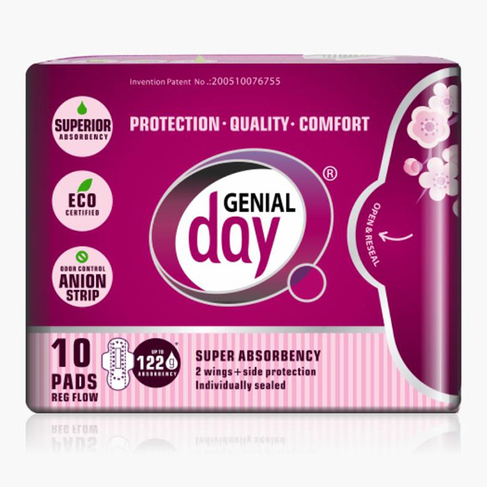 Eco Certified Regular Flow Menstrual Pads with Anion Strip, 10 ct, Genial Day