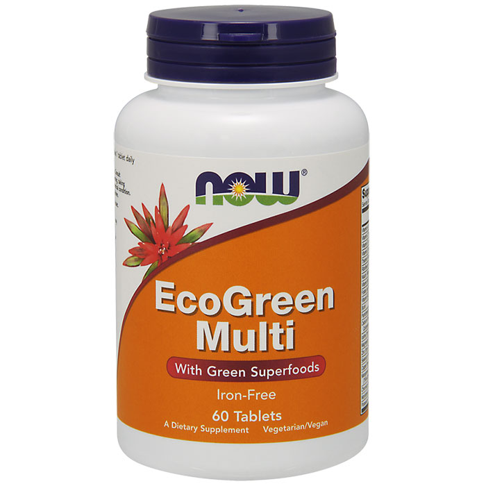 EcoGreen Multi Vitamins Tabs Iron-Free, 60 Tablets, NOW Foods