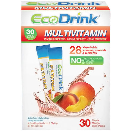 EcoDrink Complete Multivitamin Drink Mix - Peach Mango, 30 Packs, SGN Nutrition