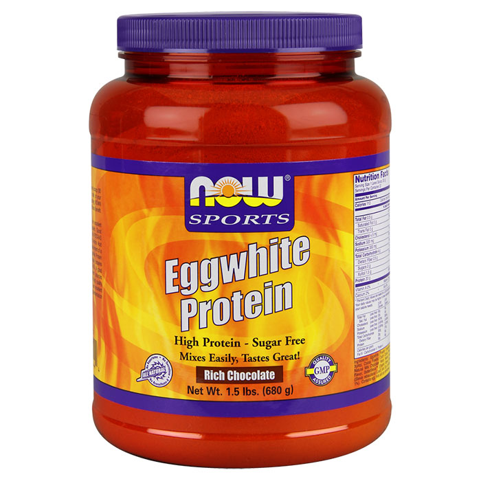 Eggwhite Protein, Rich Chocolate, 1.5 lb, NOW Foods