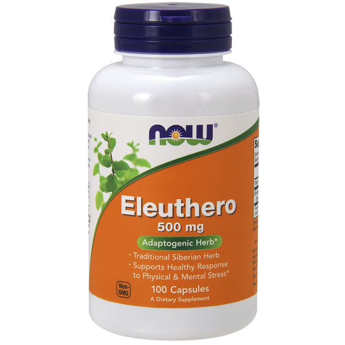 Eleuthero 500 mg, 100 Capsules, NOW Foods