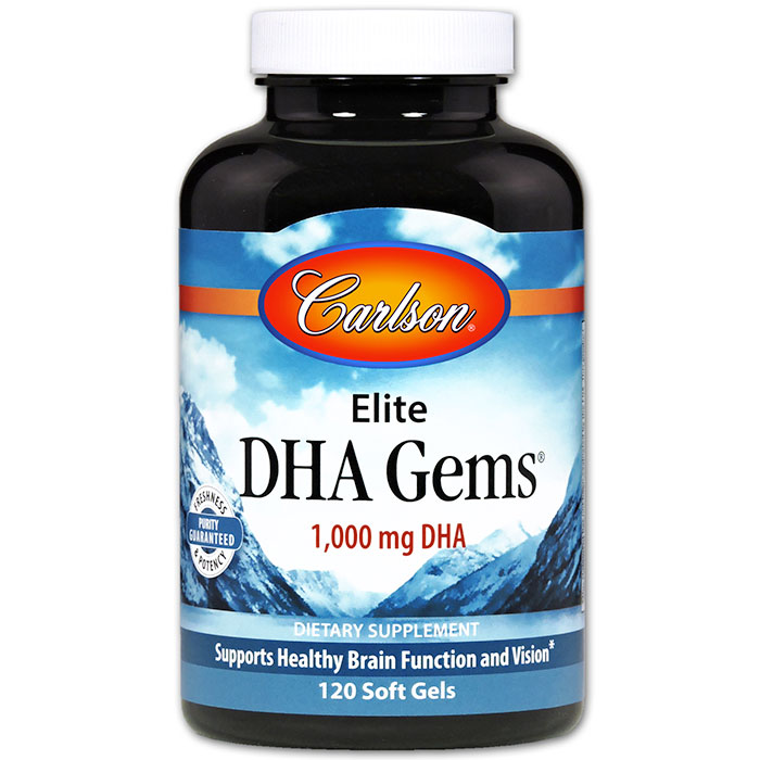 Elite DHA Gems 1000 mg, 120 Soft Gels, Carlson Labs