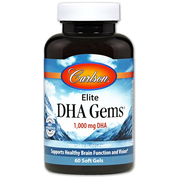 Elite DHA Gems 1000 mg, 60 Soft Gels, Carlson Labs