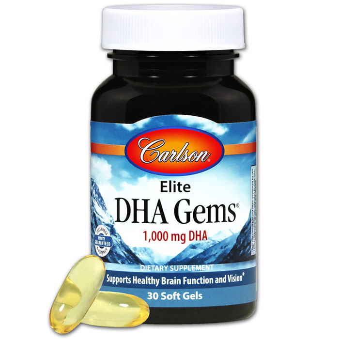 Elite DHA Gems 1000 mg, 30 Soft Gels, Carlson Labs